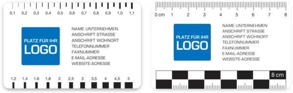 Rissbreitenlineal Druck mit Logo Risslineal Rissbreitenvergleichsmaßstab Spaltlineal Risskarte