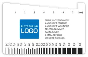 Karte Meßlehre Meßkamm Schichtmeßung Tiefenmeßung Druck mit Logo