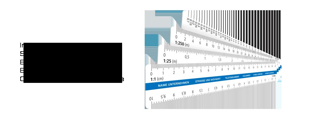 Skalenlineal Reduktionsmaßstab Skalenreduktionsmaßstab Druck mit Logo