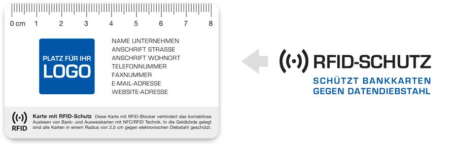 Rissbreitenlineal Druck mit Logo RFID Schutz Blocker