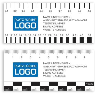 Rissbreitenlineal Druck Nullpunkt am Rand mit Logo Risslineal Risskarte
